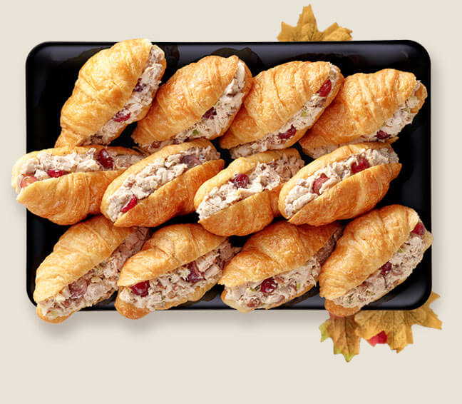 Chicken Salad With Grape Inside Flaky Croissant Tray